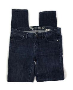 Madewell 37's Women's Skinny Denim Jeans Size 27 x 32 Mid Rise Dark Wash