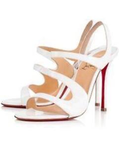 pretty nice da5da 2b13b Details about Christian Louboutin VAVAZOU 100 Patent Slingback Heels  Sandals Shoes White $895