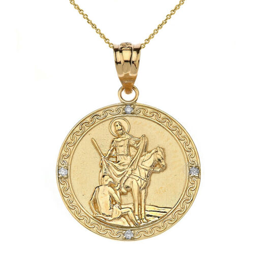 14k solide or jaune diamant Saint Martin de Tours rondes Collier Pendentif