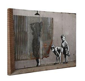 Image Is Loading Banksy Shower Kids Peeping Toms Box Canvas Print