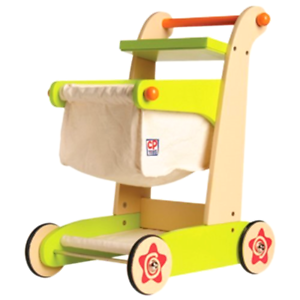 Constructive Playthings Cp Toys Kid-Sized Wooden Wooden Wooden Shopping Cart For Pretend Play 3a3343