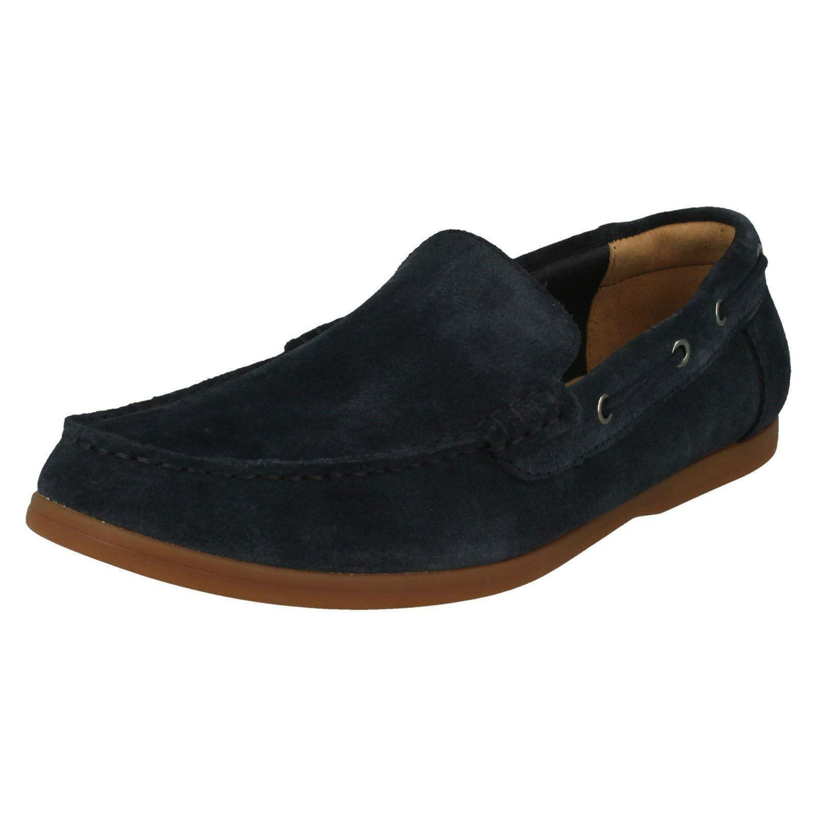 Mens Clarks Morven Sun Navy Suede Leather Slip On Shoes G Fitting