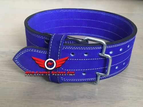 Weight Lifting RCG Leather Power Belt Quick release Gym Training Blue