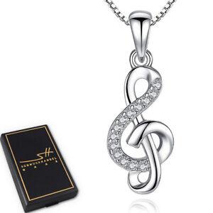 Musik-Kette-Halskette-925-Sterling-Silber-Damen-Swarovski-Kristalle-im-ETUI