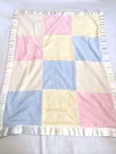 First Impressions Blue Pink Yellow Cream Patchwork Bump Dot Baby Blanket