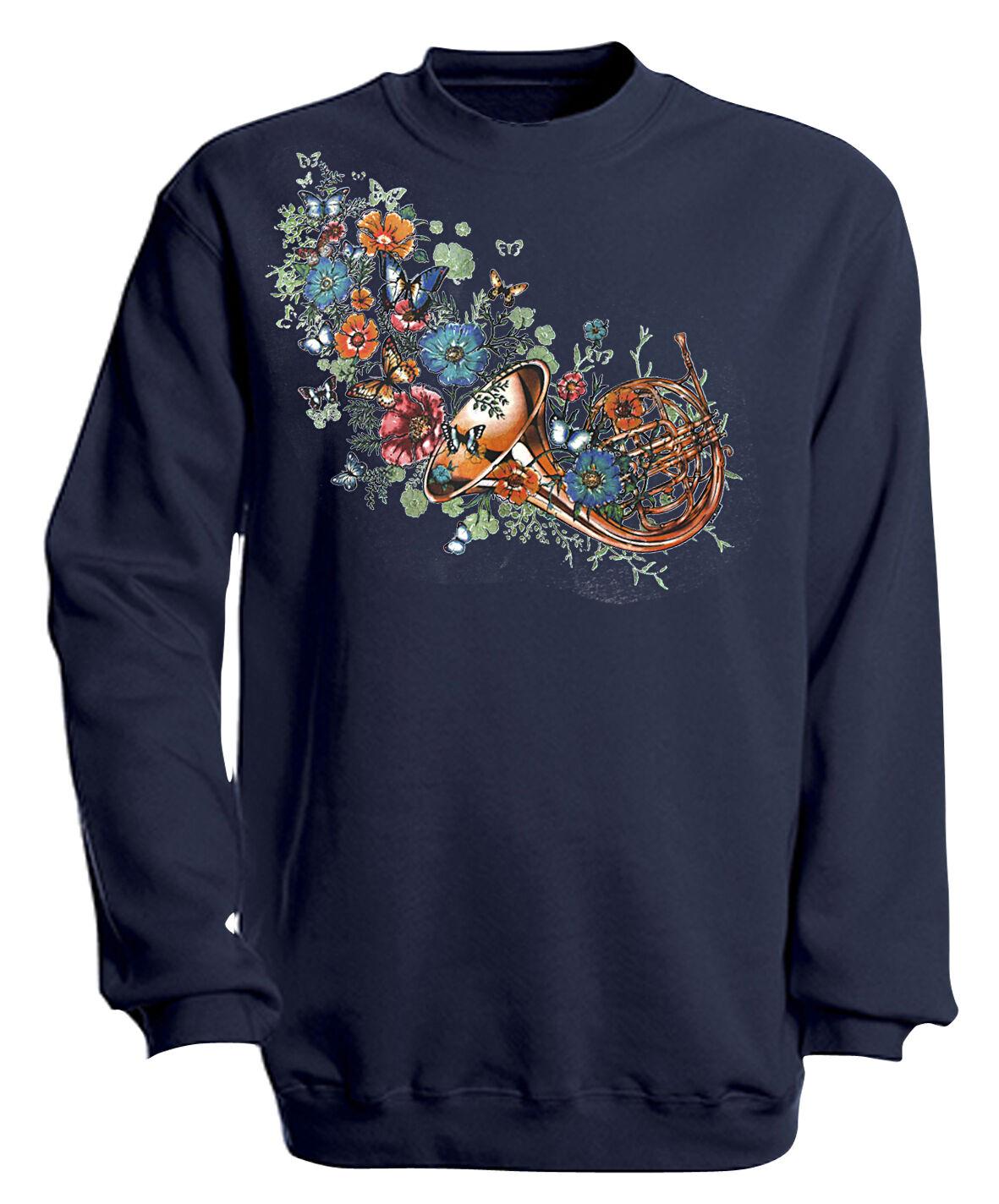(10283-1 Blu Marino) Musica Sweatshirt Alla Moda Sweater Unisex Gr. S - 4XL -