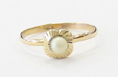 Rhodium Plated Sterling 2.75 Ct Akoya Pearl Ring Solitaire Size S
