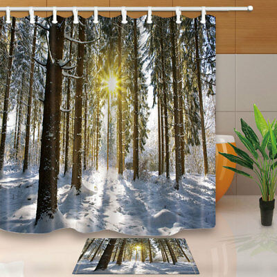 Sunshine In Winter Forest With Snow Pine Tree Bath Fabric Shower Curtain 71 Inch