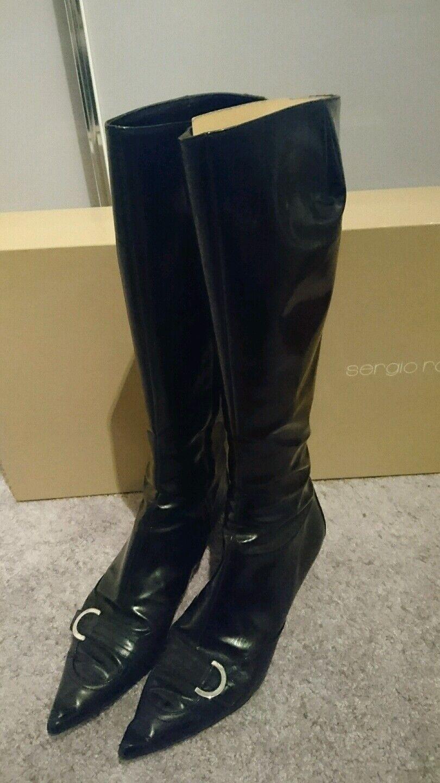 Sergio Rossi Stiefel Schuhe Schuhe Schuhe Lackschuhe Lackoptik Gr 39 Schwarz d09c73