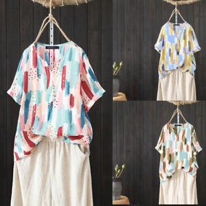 ZANZEA-Women-Short-Sleeve-Blouse-Summer-T-Shirt-Tops-Floral-Print-Tee-Shirt-Plus
