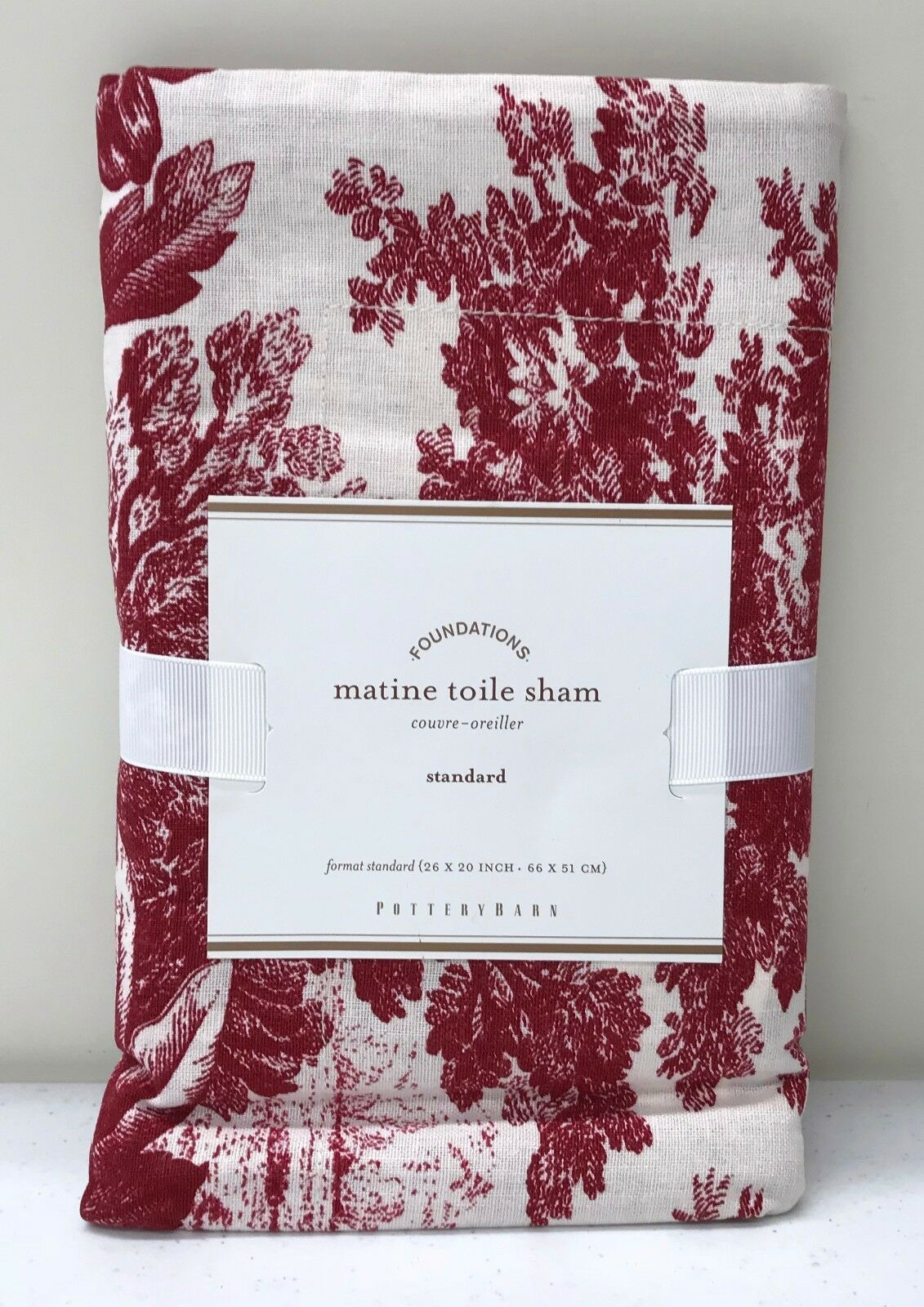 NEW Pottery Barn Matine Toile STANDARD Sham, RED