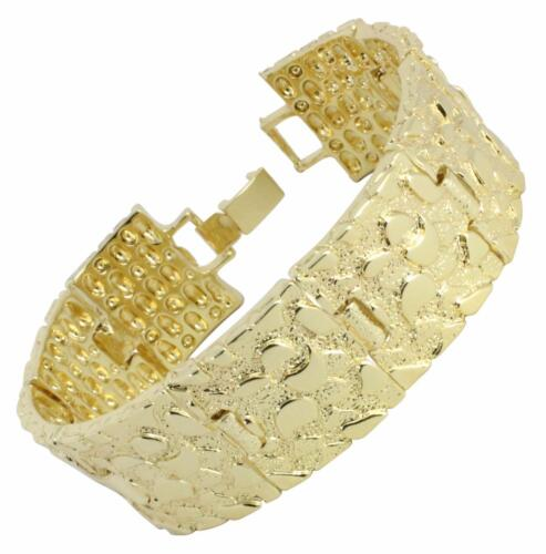 Hip Hop Fashion Homme Pépite Bracelet 14k plaqué or 7 mm 14 mm 24 mm 8 in environ 20.32 cm