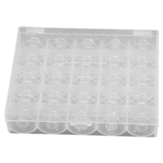 25pcs Plastic Empty Bobbins Case For Brother Janome Singer Sewing Machine Z9B3