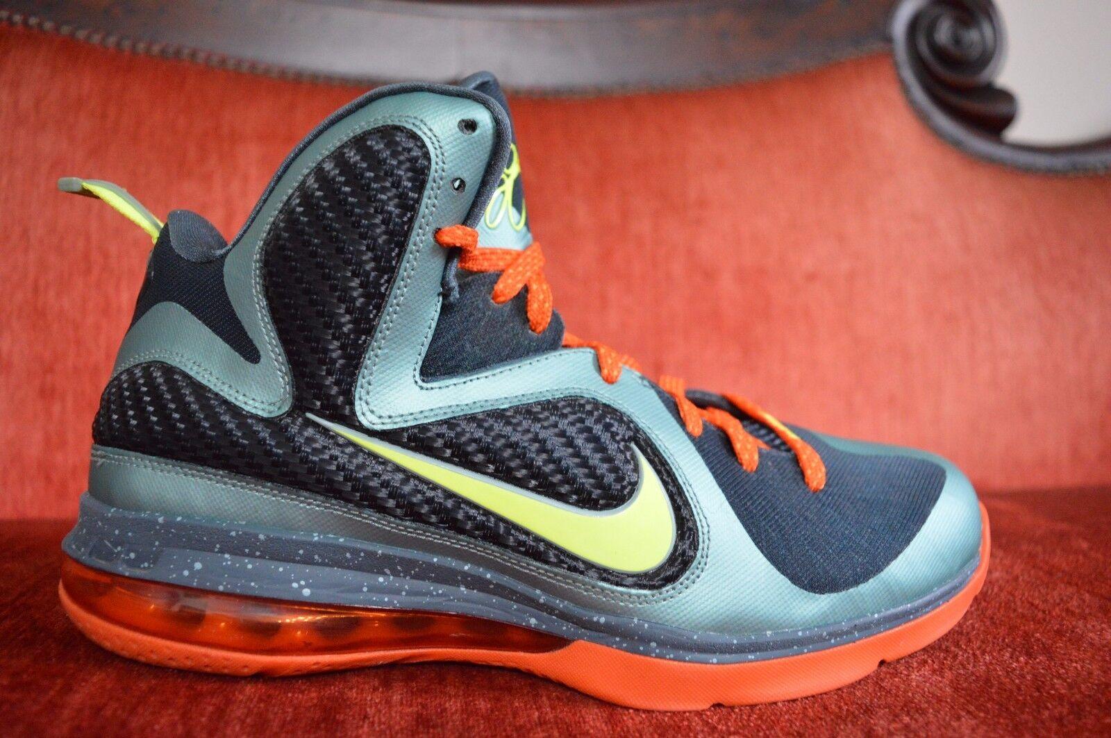 CLEAN Nike Lebron IX 9 Cannon/Volt-Slate Orange Cannon 469764-004 Size 9.5