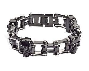Men/'s Stainless Steel All Silver Double Link Bike Chain Bracelet USA Seller