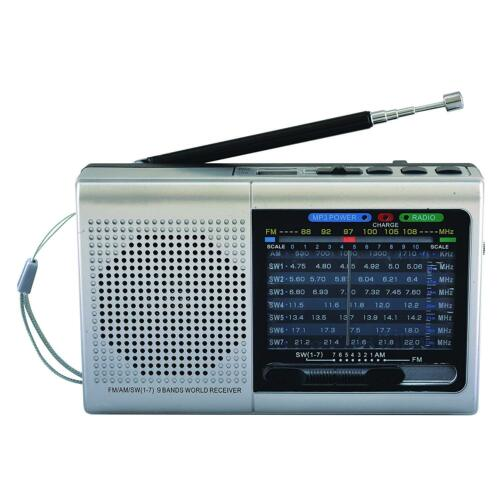 Silver BRAND NEW Supersonic SC-1080BT 9-Band Radio w// Bluetooth//USB//MicroSD-In
