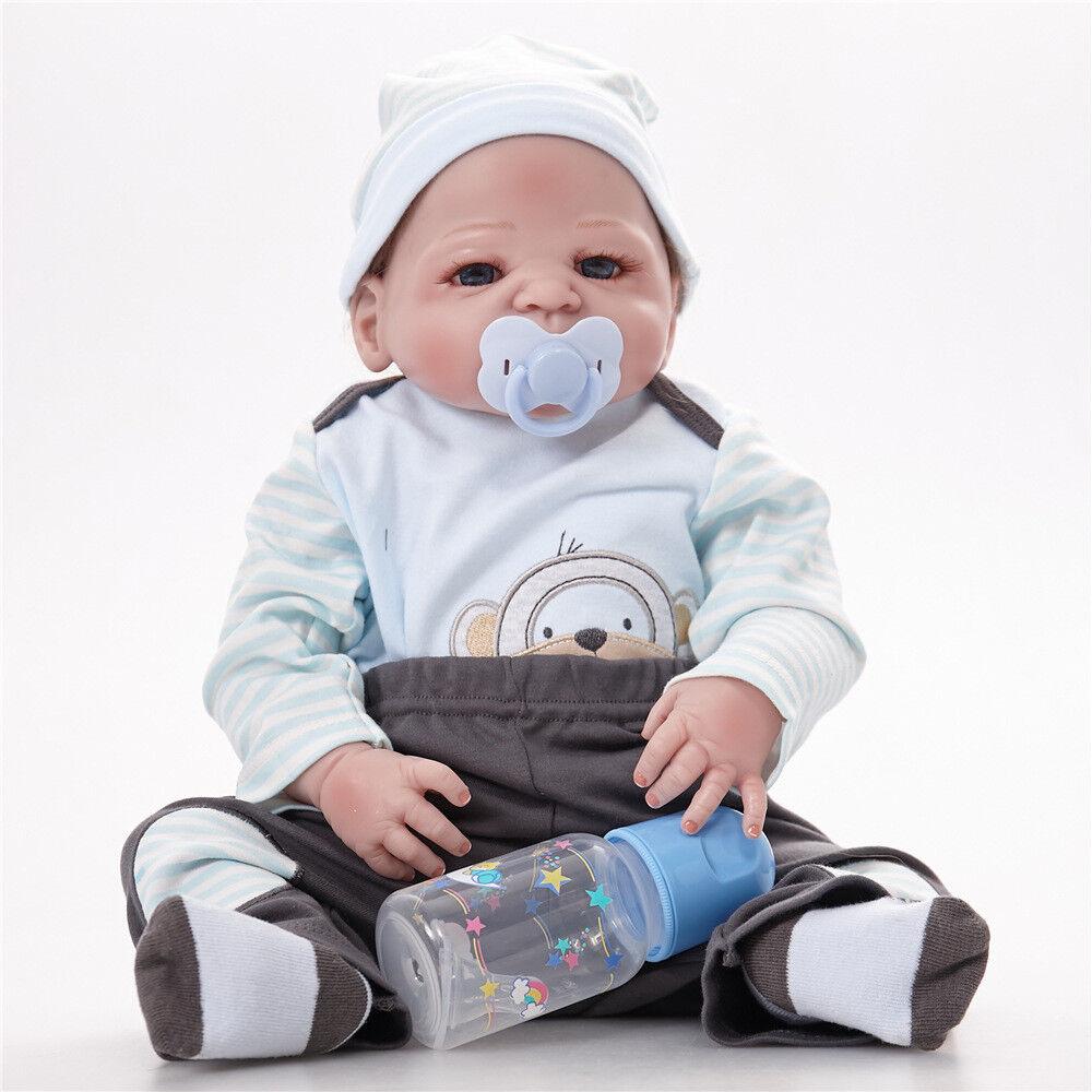 @Lifelike Muñeca Bebé Niño Reborn cuerpo completo de vinilo de Silicona Hecho a Mano Bebé Regalo 23