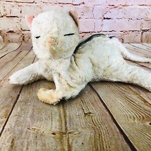 vtg stuffed cat with zipper storage stuffed animal antique