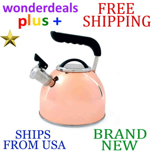 New PRIME GOURMET 2.5 qt Copper Plated TEA KETTLE Stainless Steel w Nylon Handle