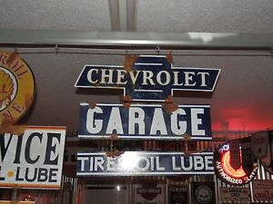 Old-antique-style-vintage-look-Chevy-dealer-service-garage-sign-large-3-piece