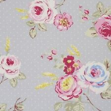 "Clarke and Clarke English Rose Grey Fabric 137cm/54"" wide"