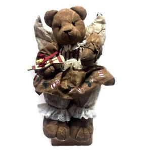 Christmas-Animated-Teddy-Bear-Angel-Rag-Doll-Musical-Lighted-Shelf-Sitter-VTG
