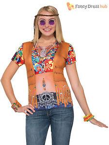 b42da3505a0c9 Adults Hippie 3D Print T-Shirt Mens Ladies Hippie 1970s Fancy Dress ...