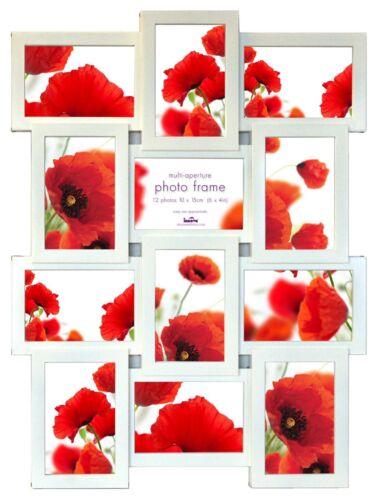 Multi Aperture Cadre Photo Image-Détient 12 X PHOTOS 6/'/'X4/'/' Blanc