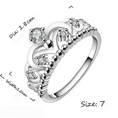 NEW  Silver Plated Silver Plated Pretty Crown Lady Cz Crystal Ring Princess Ring