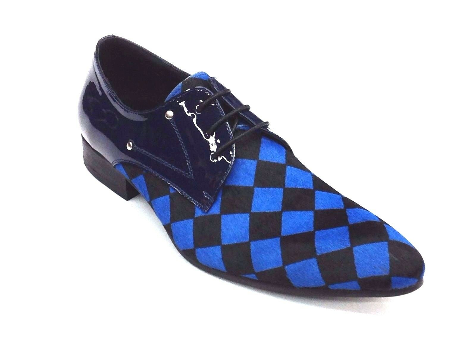 Men Fashion schuhe ZOTA Lace Up Pony Hair, Leather Checker Pointe Toe HX750 Blau