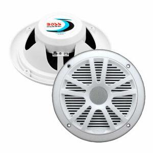 Boss MR6W 6.5 in. Dual Cone 180W White Marine Audio Speakers - Pair