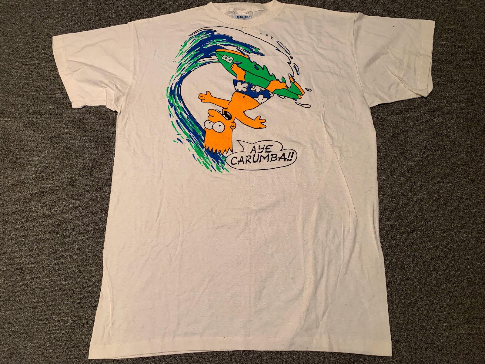 Vintage Bart Simpson Aye Carumba T-Shirt Sz 3XL The Simpsons Surf TV XXXL Fox