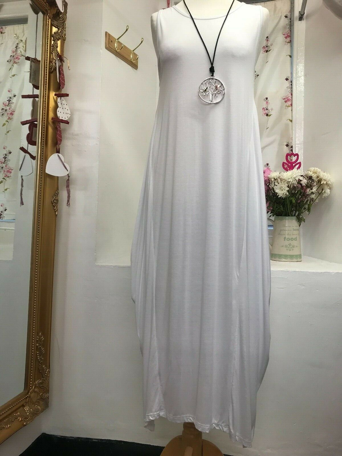 ITALIAN LAGENLOOK AMAZING QUIRKY BOHO LONG WHITE DRESS SIZE 14-18