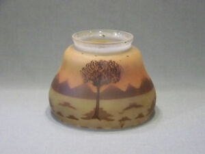 Image Is Loading Vintage Gl Lamp Shade Hand Painted Prairie Scene