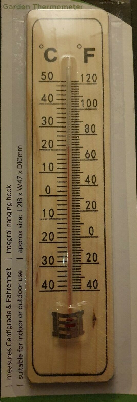 LARGE WOODEN THERMOMETER GARDEN HOME KITCHEN INDOOR OUTDOOR TEMP HEATING DEGREE