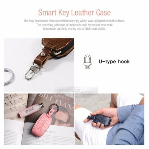 3Button Stitched Smart Key Leather Case Cover Holder for SSANGYONG 15-16 Tivoli