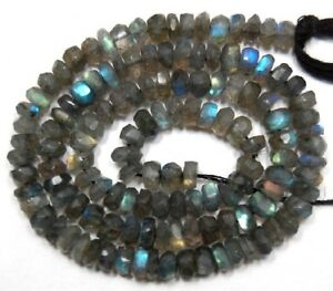 Labradorite-with-Fire-3-5-4mm-Faceted-Rondelle-Gemstone-Beads-14-034-Str-A