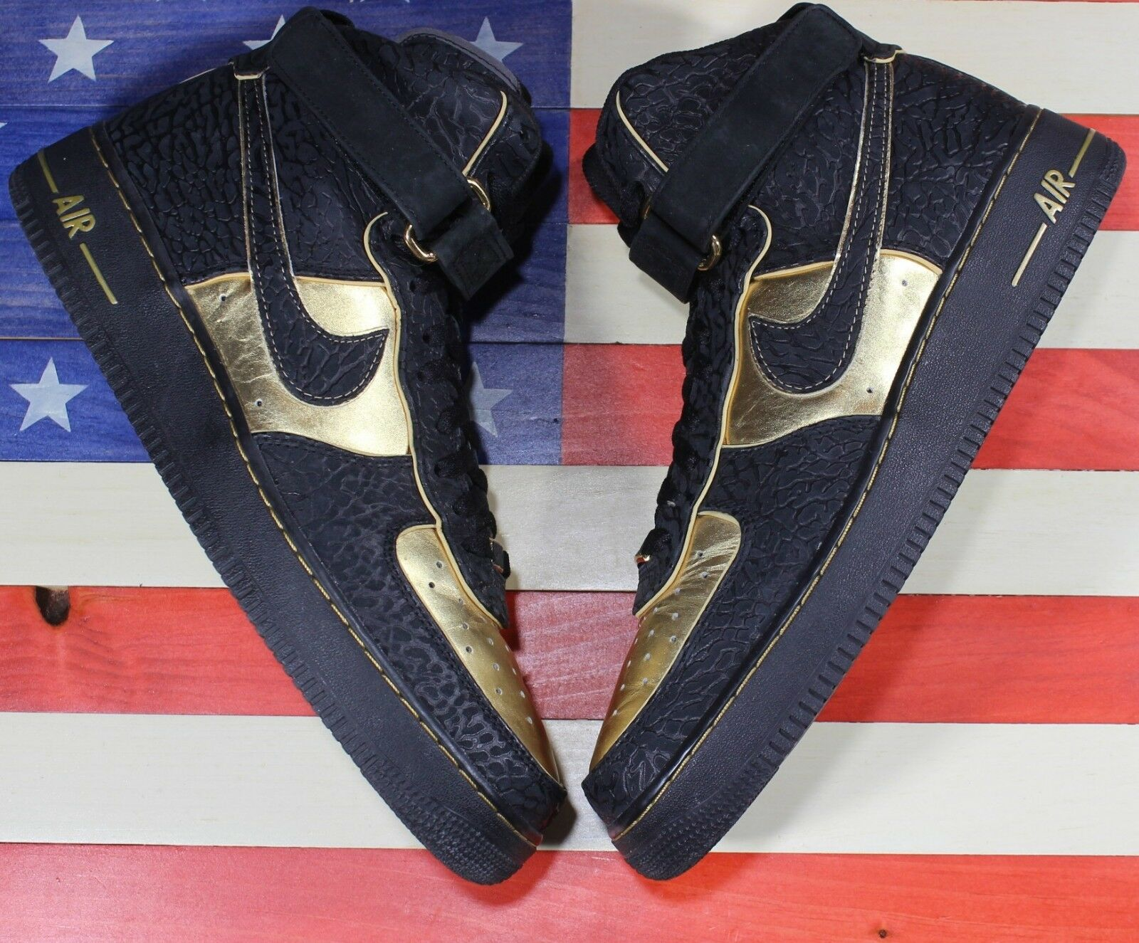 Nike Air Force 1 Hi Supreme Black Metallic gold Elephant shoes [345189-002] - 12