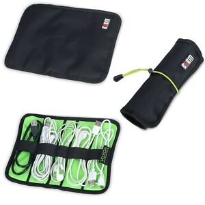 Image is loading Cable-Organizer-Bag-Case-Roll-Up-with-Rubber-