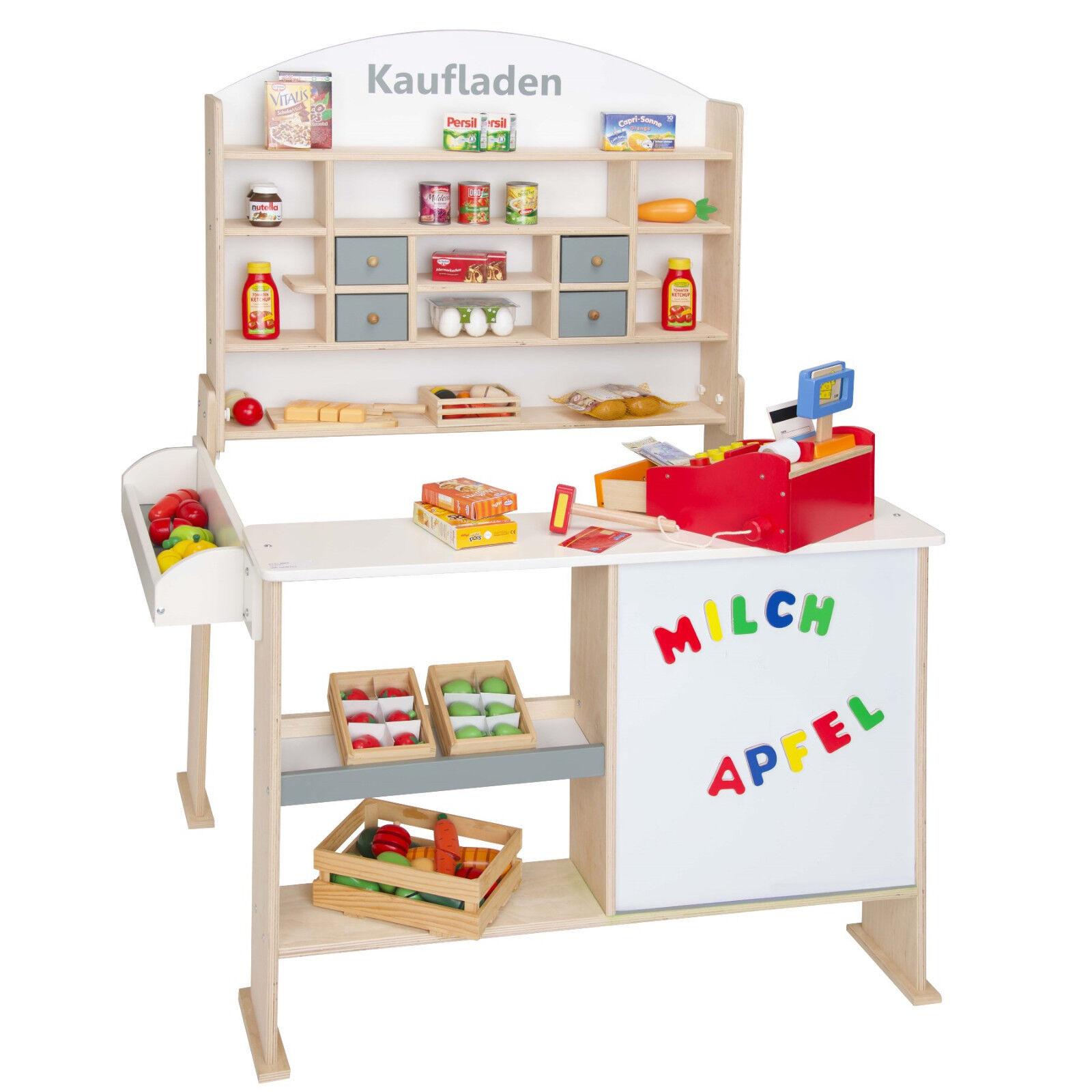 Kaufmannsladen mit Tafel Natur Weiß Kaufladen Kinder Verkaufsstand FSC Kiosk    Elegantes und robustes Menü