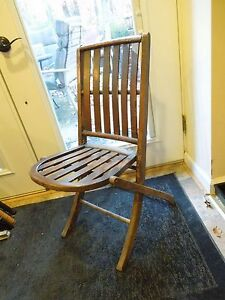 antique slatted wooden folding deck chair rounded seat