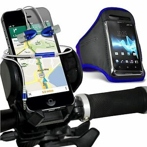 Quality-Bike-Bicycle-Holder-Sports-Armband-Case-Cover-In-Ear-Headphones-Blue