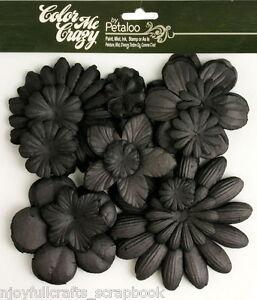 BLACK-CMC-Chalkbd-120-Paper-Flowers-25-100mm-10-styles-amp-size-VALUE-BAG-Petaloo