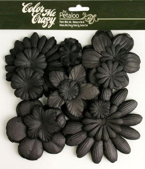 BLACK CMC Chalkbd 120 Paper Flowers 25-100mm 10 styles &size VALUE BAG Petaloo F