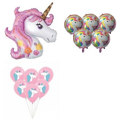 unicorn foil balloon and unicorn rainbow bunting birthday party decoration new