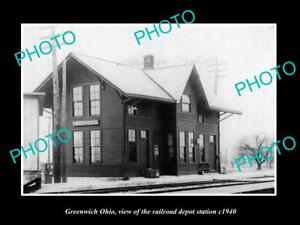 OLD-LARGE-HISTORIC-PHOTO-OF-GREENWICH-OHIO-THE-RAILROAD-DEPOT-STATION-c1940