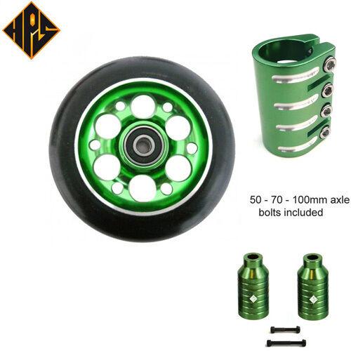 Stunt scooter set 2 verde drill wheels 100mm abec 11 bearing quad clamp peg axle