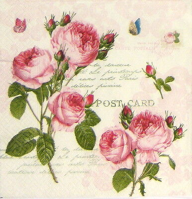 4x Vintage Romantic Roses Paper Napkins for Decoupage Craft