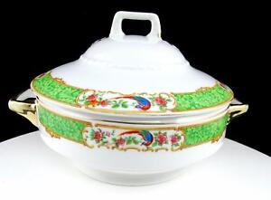 "SCHUMANN BAVARIA WHITE BLOCK JLB&S BIRD & FLOWERS 6"" COVERED VEGETABLE DISH"