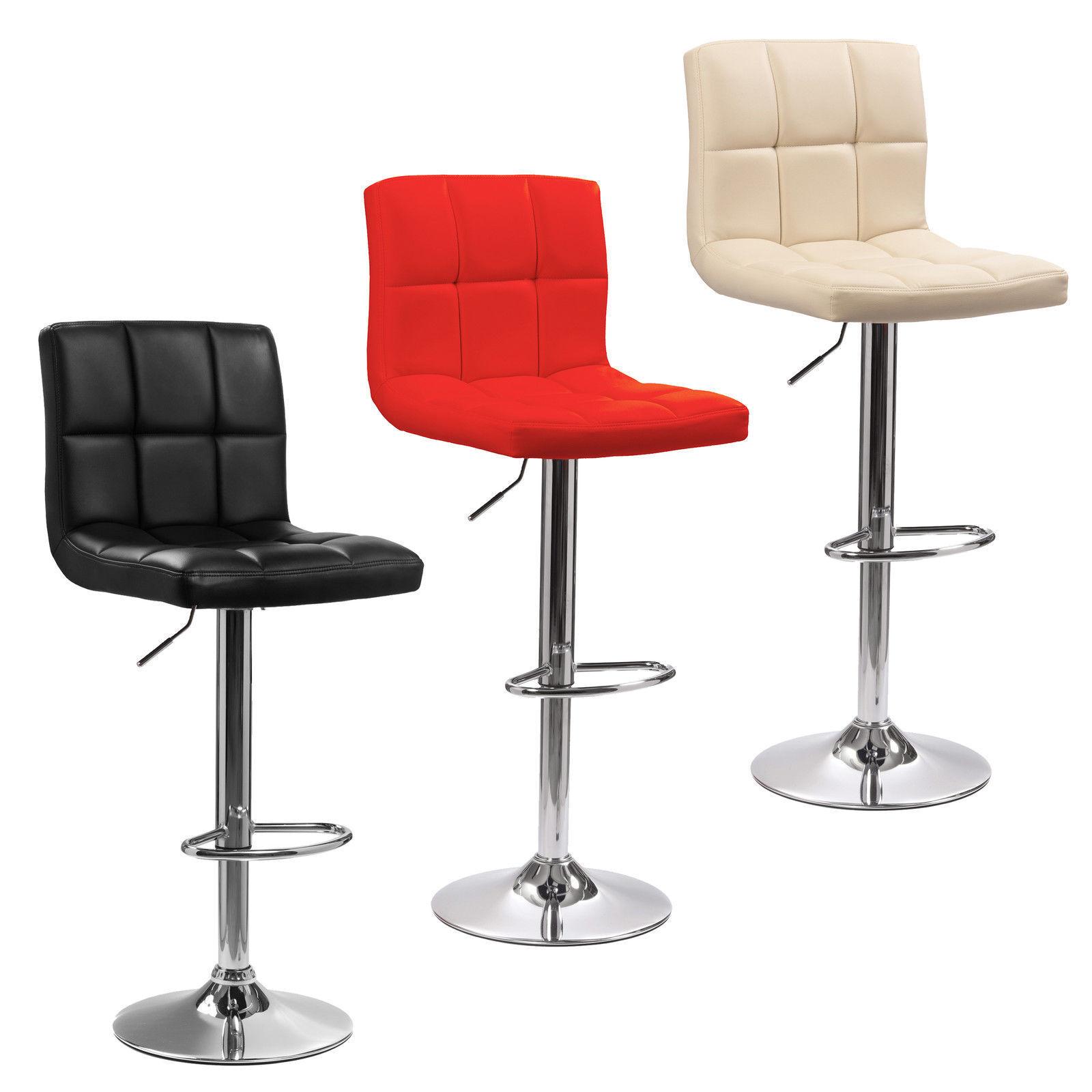 2 x Faux Leather sgabello bar colazione cucina PU Cromato Nero, Rosso, Crema NUOVO
